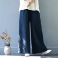 Casual pants White, black, navy M, L Winter of 2018 trousers Wide leg pants Natural waist original thickening 25-29 years old 91% (inclusive) - 95% (inclusive) hemp pocket hemp