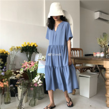 Dress Summer of 2018 Senior grey blue 6-8 working days versatile black spot versatile black 6-8 working days senior grey blue senior grey blue spot versatile black S ! M ! Mid length dress singleton  Short sleeve commute Crew neck High waist Solid color Socket Pleated skirt routine Others Type A