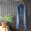 Jeans Autumn 2020 Denim blue M,L,XL trousers Natural waist Straight pants routine 25-29 years old Worn out, Multi Pocket Cotton denim Dark color 96% and above