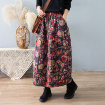 skirt Winter 2020 Average size Red, Khaki Mid length dress Retro Natural waist A-line skirt Decor Type A 30-34 years old 81% (inclusive) - 90% (inclusive) other yoko girl cotton printing