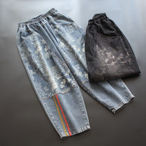 Jeans Spring 2021 Blue, black M, L Ninth pants Natural waist Haren pants routine 30-34 years old Patch, Multi Pocket Cotton denim yoko girl 96% and above