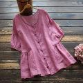 shirt Purple, ginger, purple Average size Summer 2021 hemp 96% and above Short sleeve commute Medium length Crew neck Socket routine Solid color 30-34 years old yoko girl Retro Button hemp