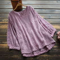 shirt Red, purple, coffee, white Average size Spring 2021 cotton 51% (inclusive) - 70% (inclusive) Nine point sleeve commute Regular Crew neck Socket routine Solid color 30-34 years old yoko girl literature Embroidery cotton