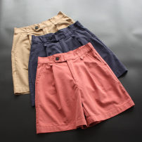 Casual pants Navy, khaki, brick red M, L Summer 2020 shorts Wide leg pants Natural waist commute Thin money 30-34 years old 96% and above yoko girl other literature Button cotton