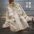 short coat Winter 2020 Average size Khaki, black Long sleeves Medium length thickening singleton  easy commute routine stand collar zipper Solid color 30-34 years old yoko girl 96% and above Pleating cotton cotton