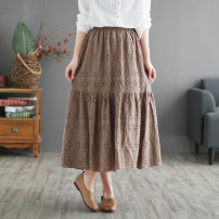 skirt Spring 2021 Average size White, black, khaki Mid length dress Sweet Natural waist A-line skirt Solid color Type A 30-34 years old More than 95% other yoko girl cotton Hollow out, embroidery Mori