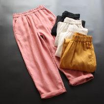 Casual pants Average size Spring 2021 Ninth pants Haren pants Natural waist commute Thin money 30-34 years old 96% and above yoko girl hemp literature pocket hemp