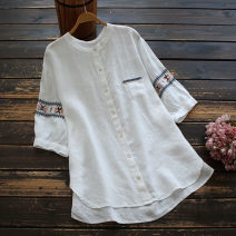 shirt Off white, Navy Average size Spring 2021 hemp 96% and above elbow sleeve commute Medium length stand collar Single row multi button routine Solid color 30-34 years old yoko girl literature Embroidery flax