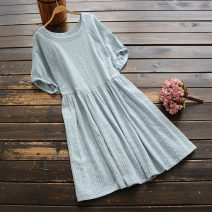 Dress Summer 2020 White, pink, light blue Single code Middle-skirt singleton  Short sleeve commute Crew neck middle-waisted Solid color Socket A-line skirt raglan sleeve Others 25-29 years old Type A yoko girl literature More than 95% other cotton