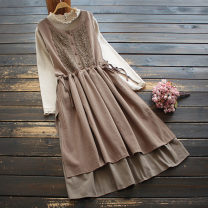 Dress Spring 2021 Black, Khaki One size fits all (arrival of khaki 4) Mid length dress singleton  Sleeveless commute Crew neck Elastic waist Solid color Socket A-line skirt 30-34 years old Type A yoko girl literature Lace 51% (inclusive) - 70% (inclusive) cotton