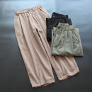 Casual pants Khaki, army green, black M, L Spring 2021 Ninth pants Haren pants Natural waist commute routine 30-34 years old 96% and above yoko girl cotton Korean version Button cotton