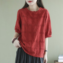 shirt White, red, blue Average size Summer 2021 cotton 91% (inclusive) - 95% (inclusive) Short sleeve commute Regular Crew neck Single row multi button routine Solid color 30-34 years old yoko girl literature Embroidery cotton