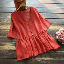 shirt Red, white, grey blue Average size Summer 2021 hemp 96% and above Short sleeve commute Regular V-neck Single row multi button routine Solid color 30-34 years old yoko girl Retro Button flax