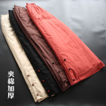 Casual pants Black, brown, red, beige Average size Winter 2020 trousers Wide leg pants Natural waist commute thickening 30-34 years old 51% (inclusive) - 70% (inclusive) yoko girl cotton Retro Button cotton