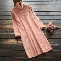 Wool knitwear Autumn 2020 Average size Pink, off white, dark green Long sleeves singleton  Socket nylon 30% and below Regular routine commute Straight cylinder Pile collar routine Solid color Socket literature 30-34 years old yoko girl