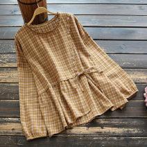 shirt Ginger, light brown, black Single code Spring 2021 cotton 51% (inclusive) - 70% (inclusive) Long sleeves commute Regular Socket routine lattice 25-29 years old yoko girl literature Frenulum