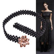 Belt / belt / chain other White, black, pink, champagne, green female belt grace Single loop youth a hook Flower design Glossy surface 3.5cm alloy 63cm,73cm