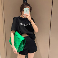 Casual pants Black shorts, black skirt S,M,L Summer 2021 shorts Straight pants High waist commute routine 31% (inclusive) - 50% (inclusive) AD040508 Alice&W Korean version cotton