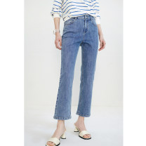 Casual pants (class I) blue, (class I) light blue XS,S,M,L,XL,2XL Spring 2021 Ninth pants Flared trousers Natural waist commute routine 91% (inclusive) - 95% (inclusive) Xijia Simplicity cotton
