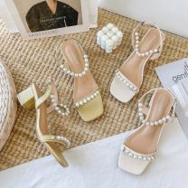 Sandals 35,36,37,38,39 Off white, apricot yellow PU Other / other Barefoot Thick heel Middle heel (3-5cm) Summer 2021 Flat buckle rubber Flat buckle