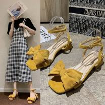 Sandals 35,36,37,38,39 Off white, yellow, black PU Other / other Barefoot Thick heel Middle heel (3-5cm) Summer 2021 Flat buckle Sweet Color matching Adhesive shoes Youth (18-40 years old) rubber daily Back space bow Low Gang Lateral space PU Flat buckle