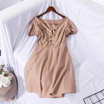 Dress Summer of 2019 Khaki, blue and white XS,S,M Mid length dress Short sleeve MOfEA MOCER