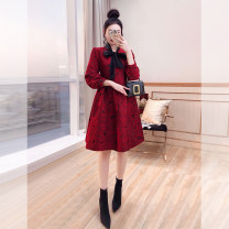 Dress Spring 2021 gules S,M,L,XL Mid length dress singleton  Long sleeves commute other High waist Decor Socket Pleated skirt other 25-29 years old Type A Justvivi style lady Bowknot, fold, lace, stitching, tridimensional decoration, button, zipper Q00006931