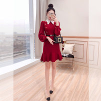 Dress Spring 2021 Red, black S,M,L,XL Middle-skirt singleton  Long sleeves commute Doll Collar High waist Solid color Socket Ruffle Skirt other 25-29 years old Type A Justvivi style lady Ruffle, fold, auricle, stitching, three-dimensional decoration, button, zipper Q00007145