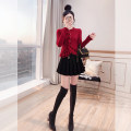 Fashion suit Spring 2021 S,M,L,XL Red suit, black suit, red sweater, black skirt, black sweater 25-35 years old Justvivi style T00007283