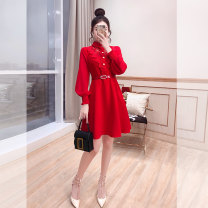 Dress Spring 2021 gules S,M,L,XL Middle-skirt singleton  Long sleeves commute stand collar High waist Solid color Socket A-line skirt bishop sleeve 25-29 years old Type A Justvivi style lady Q00007151