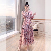 Dress Spring 2021 Pink, black S,M,L,XL longuette singleton  Long sleeves commute V-neck High waist Decor Socket A-line skirt routine 25-29 years old Type A Justvivi style lady Ruffles, folds, auricles, stitching, three-dimensional decoration, buttons, zippers, printing Q00007227