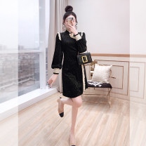 Dress Spring 2021 black S,M,L,XL Middle-skirt singleton  Long sleeves commute stand collar High waist Solid color Socket A-line skirt other 25-29 years old Type A Justvivi style lady Fold, Auricularia auricula, Gouhua, hollow, splicing, three-dimensional decoration, Sequin, button, zipper Q00007316