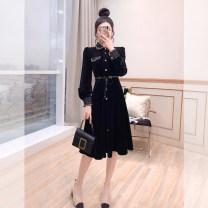 Middle aged and old women's wear Spring 2021 black S,M,L,XL singleton  Socket moderate Polo collar shirt sleeve Justvivi style fold Medium length