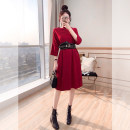 Dress Spring 2021 Red, Navy S,M,L,XL Mid length dress singleton  three quarter sleeve commute Crew neck Loose waist Solid color Socket A-line skirt Bat sleeve 25-29 years old Type A Justvivi style lady Fold, pocket, stitching, three-dimensional decoration Q00006278