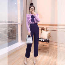 Casual pants Dark purple, black S,M,L,XL Spring 2021 trousers Straight pants High waist Versatile routine 25-29 years old K00006272 Justvivi style fold