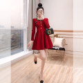 Dress Spring 2021 Red, black S,M,L Middle-skirt singleton  Long sleeves commute Crew neck High waist Decor Socket A-line skirt routine 25-29 years old Type A Justvivi style lady Patching, folding, stitching, three-dimensional decoration, buttons Q00006920