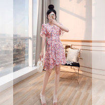 Dress commute A-line skirt Type A lady Summer 2021 Short sleeve Medium length skirt singleton  Design and color Lotus leaf sleeve High waist 25-29 years old V-neck Condom Justvivi style Q00007968 Bowknot, ruffle, fold, lace, stitching, zipper, printing S,M,L