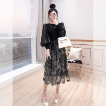 Dress Spring 2021 black S,M,L,XL Mid length dress Fake two pieces Long sleeves commute Crew neck High waist Decor Socket A-line skirt puff sleeve 25-29 years old Type A Justvivi style lady Pleats, stitching, tridimensional decoration, buttons, zippers Q00007405