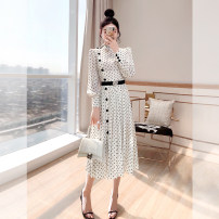 Dress Spring 2021 white S,M,L,XL Mid length dress singleton  Long sleeves commute stand collar High waist Dot Socket A-line skirt shirt sleeve 25-29 years old Type A Justvivi style lady Pleats, stitching, tridimensional decoration, buttons, zippers Q00007592