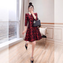 Dress Spring 2021 gules S,M,L,XL Mid length dress singleton  elbow sleeve commute Doll Collar High waist Decor Socket A-line skirt routine 25-29 years old Type A Justvivi style court Fold, pocket, stitching, tridimensional decoration, button, zipper Q00007124