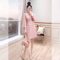 Dress Spring 2021 Pink, light green, black S,M,L,XL Middle-skirt singleton  Long sleeves commute Doll Collar High waist Decor Socket A-line skirt other 25-29 years old Type A Justvivi style lady Pleats, stitching, tridimensional decoration, buttons, zippers Q00007412