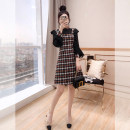 Dress Spring 2021 Decor S,M,L,XL Middle-skirt Fake two pieces Long sleeves commute stand collar High waist lattice Socket A-line skirt other 25-29 years old Type A Justvivi style lady Ruffle, fold, auricle, stitching, three-dimensional decoration, button, zipper Q00006232