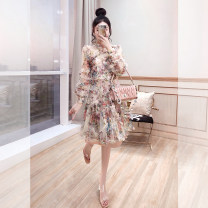 Dress Spring 2021 Apricot, black S,M,L,XL Mid length dress singleton  Long sleeves commute stand collar High waist Decor Socket A-line skirt other 25-29 years old Type A Justvivi style lady Ruffles, folds, Auricularia auricula, stitching, three-dimensional decoration, gauze, zipper, printing