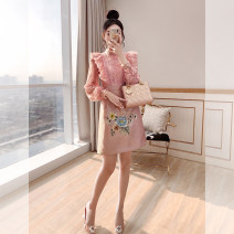 Dress Spring 2021 Pink S,M,L,XL Middle-skirt singleton  Long sleeves commute stand collar High waist Decor Socket A-line skirt other 25-29 years old Type A Justvivi style lady Pleats, Gouhua, hollowing out, splicing, three-dimensional decoration, buttons, zippers, lace Q00007142