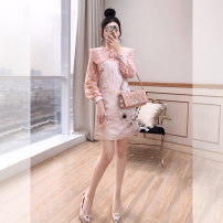 Dress Spring 2021 Pink S,M,L,XL Middle-skirt singleton  Long sleeves commute Doll Collar High waist Decor Socket A-line skirt routine 25-29 years old Type A Justvivi style lady Bow, fold, Gouhua, hollow, lace, stitching, three-dimensional decoration, button, zipper, lace Q00007107