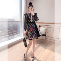 Dress Spring 2021 black S,M,L,XL Middle-skirt singleton  Long sleeves commute stand collar High waist Decor Socket A-line skirt other 25-29 years old Type A Justvivi style lady