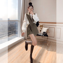 Middle aged and old women's wear Spring 2021 Khaki, Khaki Short Sleeves S. M, l, XL, m (pre-sale 4.19-4.21) Self cultivation Three piece set Socket moderate routine T00007048 Justvivi style other