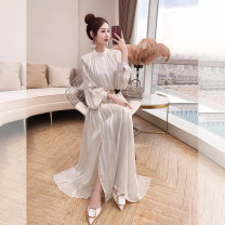 Dress Spring 2021 Apricot S,M,L,XL longuette singleton  Long sleeves commute stand collar High waist Solid color Socket A-line skirt bishop sleeve 25-29 years old Type A Justvivi style lady Pleats, stitching, tridimensional decoration, buttons, zippers Q00006198