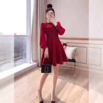 Dress Spring 2021 Red, black S,M,L,XL Middle-skirt singleton  Long sleeves commute Crew neck High waist Solid color Socket A-line skirt other 25-29 years old Type A Justvivi style lady Stickers, folds, stitching, three-dimensional decoration, buttons, zippers Q00007171