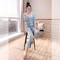 Jeans Spring 2021 wathet S,M,L,XL Ninth pants High waist Flared trousers routine 25-29 years old Zipper, button, multiple pockets light colour Justvivi style